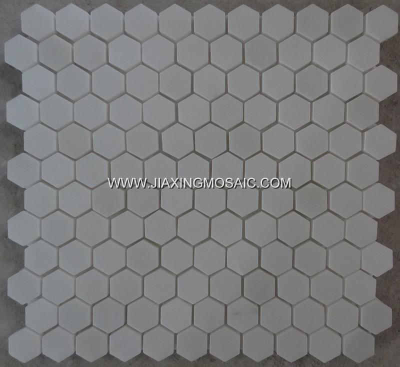 Danba White Hexagon Polished Marble Mosaic