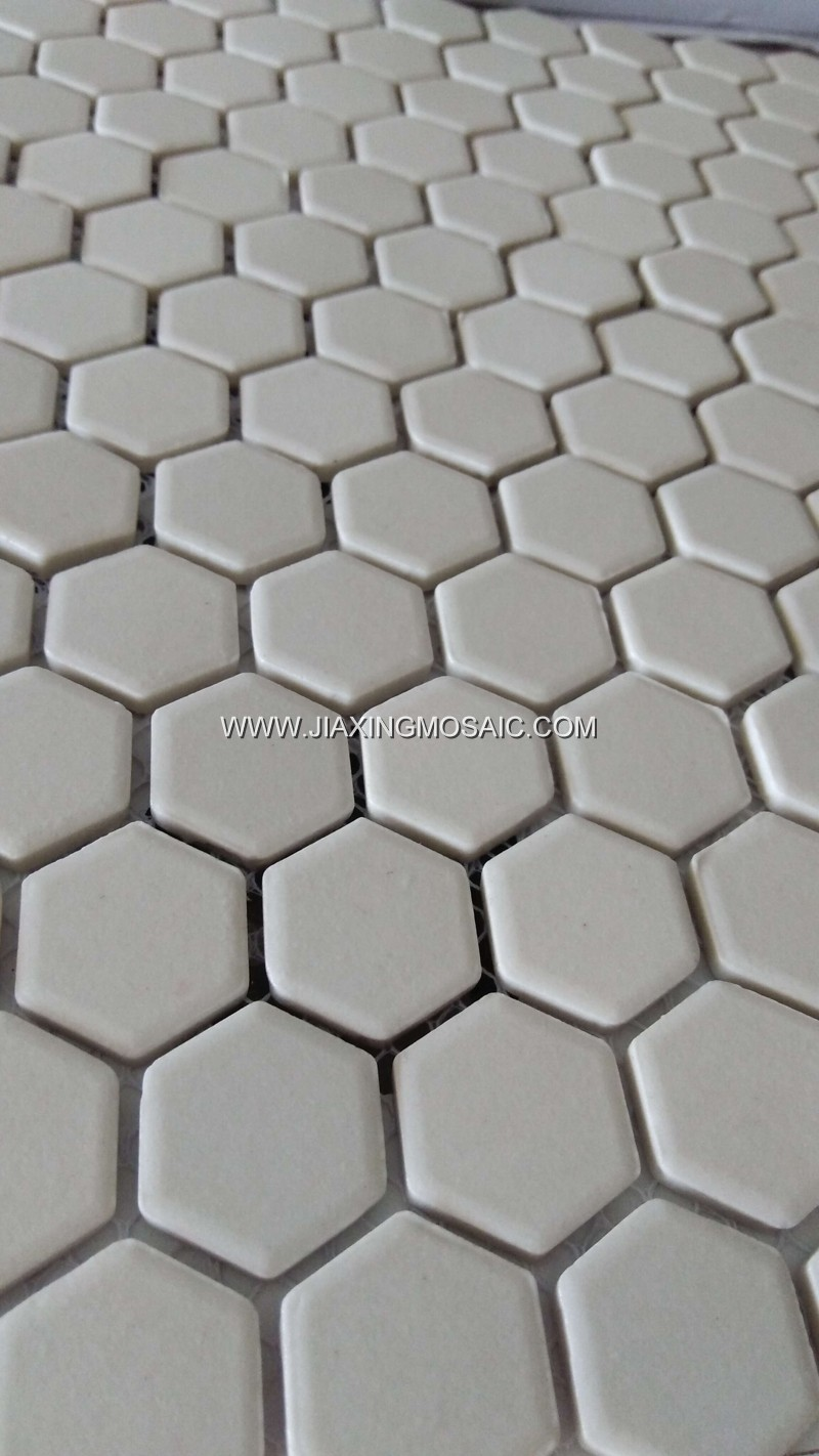 Pure white color hexagonal porcelain mosaic