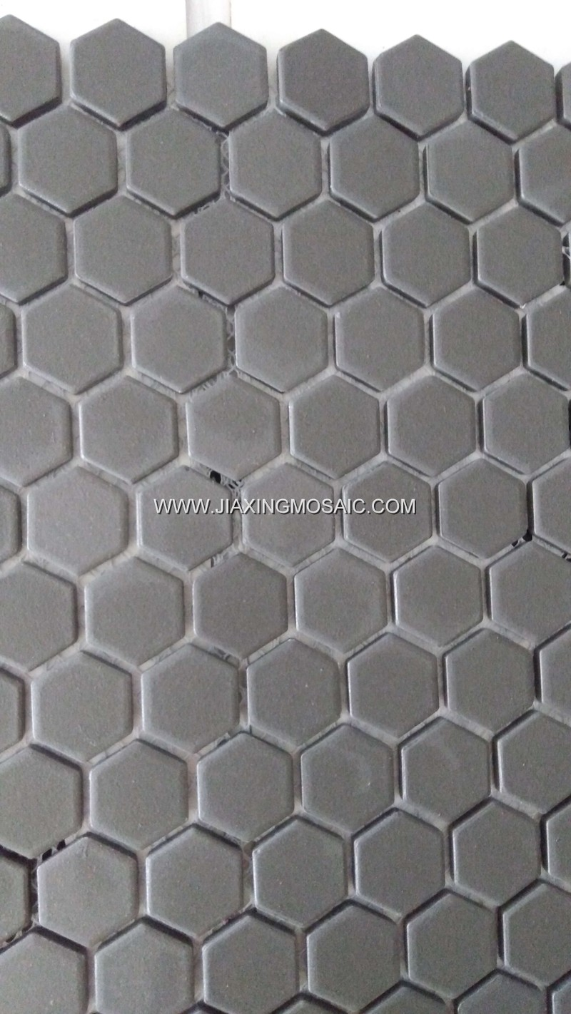 Pure grey color hexagonal porcelain mosaic