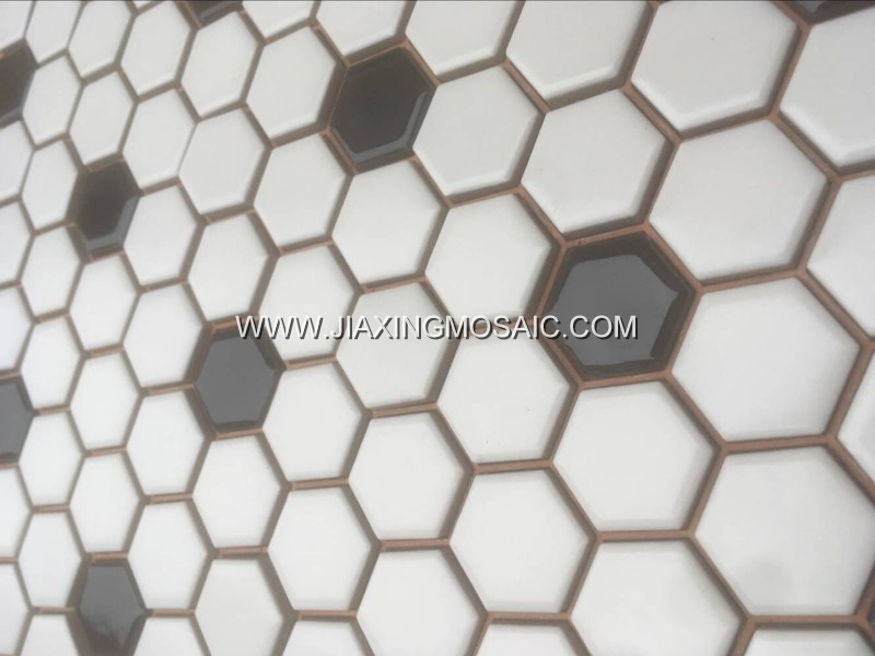 White color hexagonal porcelain mosaic