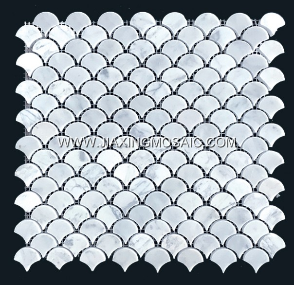 Carrara white marble mosaic Fan shaped mosaic tile bathroom flooring tiles