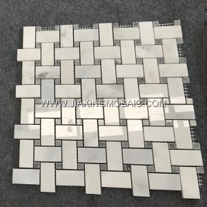 Art Patterns Mosaic Eastern White Marble Polished Basketwave Mosaic tiles