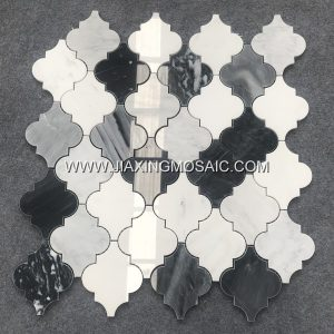 Eastern White Polished Marble Lantern Design Marble Mosaic Tile