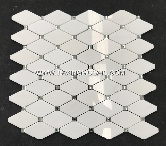 New Design Eastern White Rhomboid Long Octagon Tile Polished Mosaic