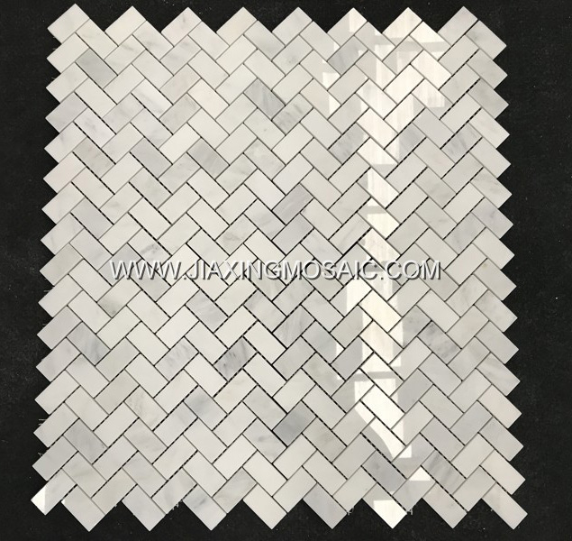 Oriental White Polished Herringbone Marble Mosaic Tiles