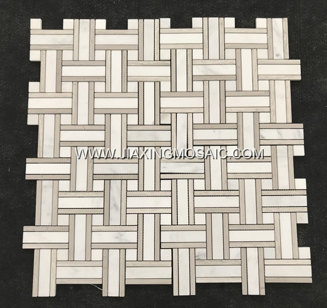 Eastern White Marble Polished Basketwave Mosaic Tile