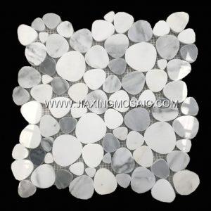 Eastern White Pebble Shaped Polished Marble Mosaic Tile