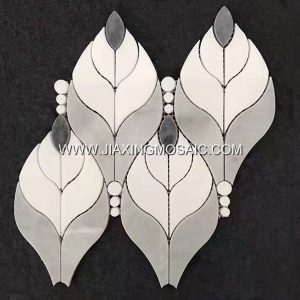 Leaf Shaped Eastern White Marble Waterjet Mosaic Tile