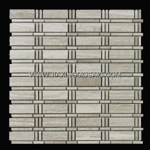 Wooden White Polished New Brick Design Marble Mosaic tiles
