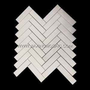 High Quality Thassos White Herringbone Mosaic Marble Tiles