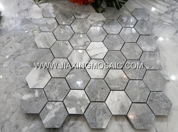 Hexagon Calacatta Grey Quartz Mosaic Tile