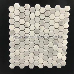 XueLian White Hexagon Marble Mosaic Tile