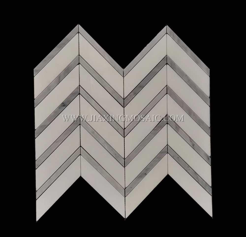 Eastern White Marble Chevron Mosaic Tile