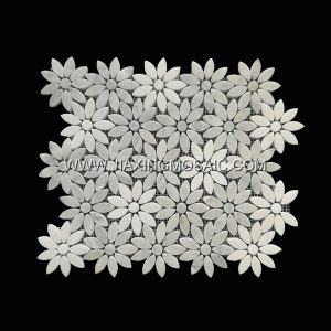 Flower Shape Carrara White Marble Mosaic