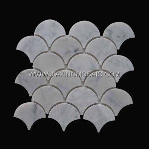 Fan shaped mosaic tile bathroom flooring tiles carrara white marble mosaic 3