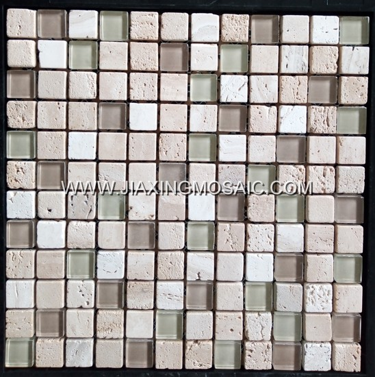Beige Travertine Mixed Glass Square Mosaic Tile