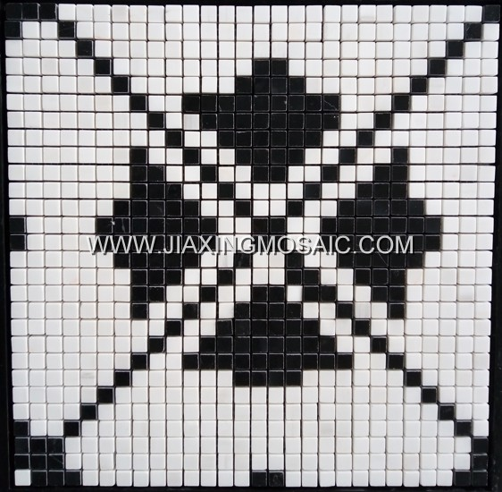 Star White Marble Nero Marquina Square Marble Mosaic Tile