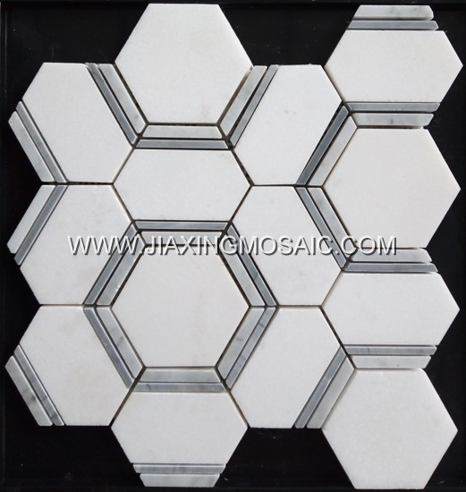 High Quality Thassos White Hexagon Mosaic Marble Tiles