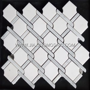 New design Bianco Carrara White Marble & Star White Argyle mosaic