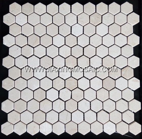 Crema Marfil Hexagon Mosaic Tile