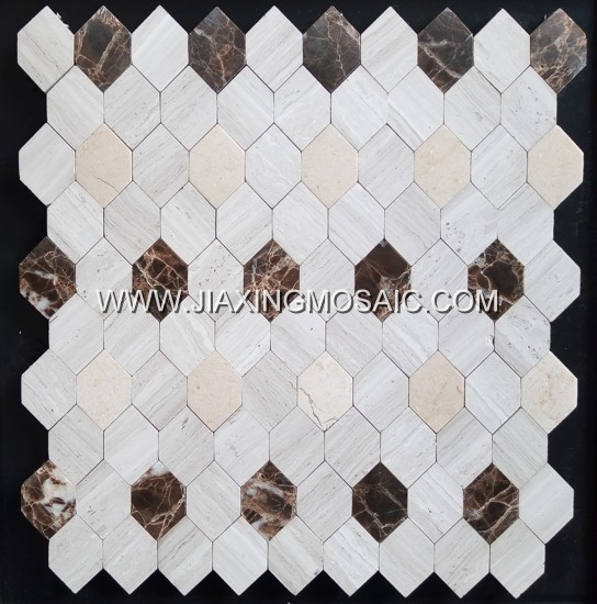Wooden White Marble Elongated Hexagon Dark Emperador Mosaic Tile