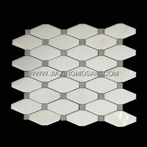 Eastern White Rhomboid Long Octagon Cinderella Grey Polished Marble Mosaic Tile