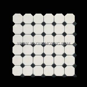 Yugoslavia White Octagon Nero Marquina Marble Mosaic Tile