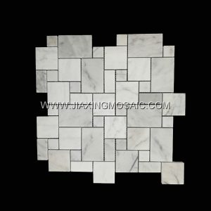Basketweave Carrara White Polished Marble Mosaic Tile