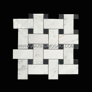 Basketweave Carrara White Nero Margiua Marble Mosaic Polished Marble Mosaic Tile