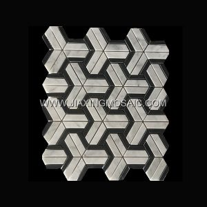 Carrara White Triangle Nero Margiua Polished Marble Mosaic Tile