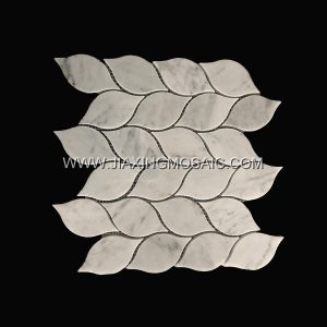 Leaf Design Carrara White Polished Marble Mosaic Tile