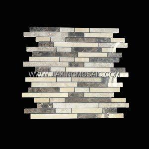 Strips Dark Emperador Travertine White Rose Polished Marble Mosaic Tile