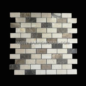 Strips Cream Marfil Dark and Light Emperador Polished Marble Mosaic Tile