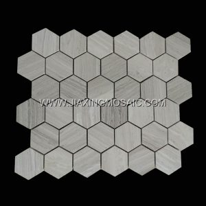 Hexagon Wooden White Polished Marble Mosaic Tile