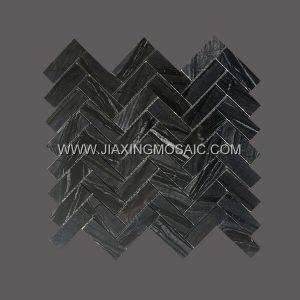 Herringbone ZEBRONA Polished Marble Mosaic Tile