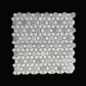 Carrara White Polished Football Design Thassos Marble Circular Mosaic Tiles