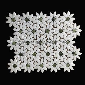 Flower Shaped Crystal White Danton Green Polished Marble Mosaic Tile