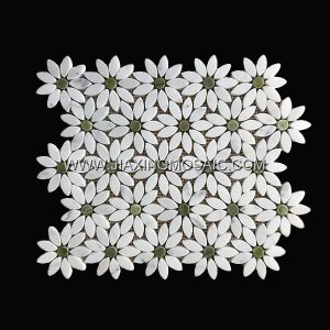 Flower Shaped Calacatta White Danton Green Polished Marble Mosaic Tile