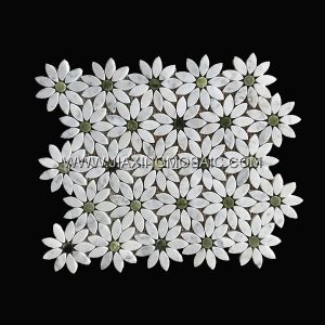 Flower Shaped Carrara White Danton Green Polished Marble Mosaic Tile