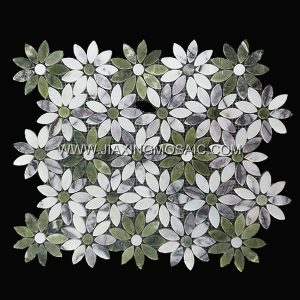 Flower Shaped Dandong Green and Lilac Polished Marble Mosaic Tile