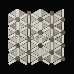 Wooden White Polised Triangle Waterjet Marble Mosaic Tiles