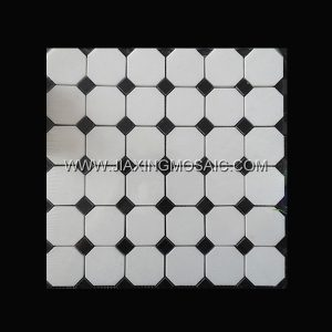 Thasso White Polished Marble Octagon Design Art Marble Mosaic Tiles