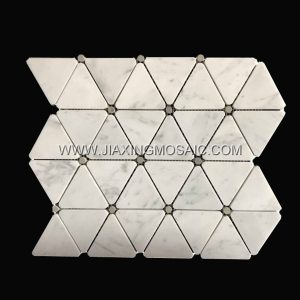 Carrara White Marble Polished Triangle Shaped Mosaic Tiles
