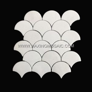 Fan shaped mosaic tile bathroom flooring tiles Thassos White Marble mosaic 3