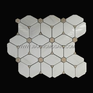 Star White Octagon Crema Marfil Marble Mosaic Tile