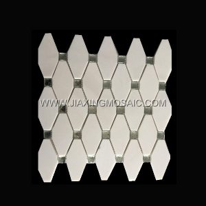 Yugoslavia White Rhomboid Long Octagon Plating Glass Marble