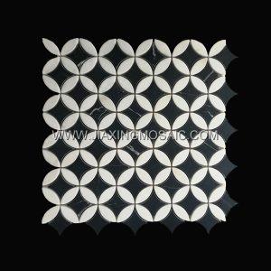 Nero Margiua Pentagram Thassos White Polished Marble Mosaic Tile