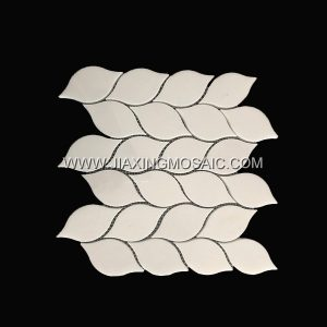 Leaf Design Thassos White Polished Marble Mosaic Tile
