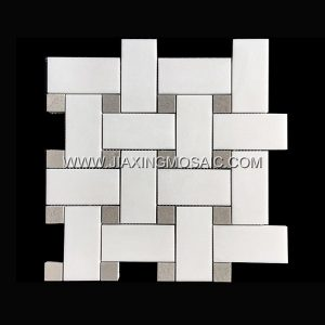 Basketweave Cinderella Grey Thassos White Polished Marble Mosaic Tile