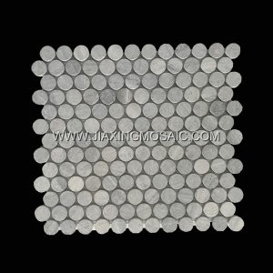 Circular Rounded Wooden Blue Polished Marble Mosaic Tile